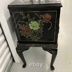 Large Vintage Chinese Black Lacquer Jade Stone Carving Inlay Jewelry Box