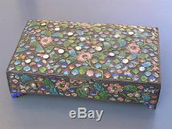 Large Vintage Chinese Enamel Floral Design MOP Cabs Jewelry Box