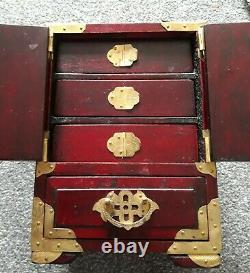 Large Vintage Chinese Inlaid Carved Jade Lacquered Jewellery Box