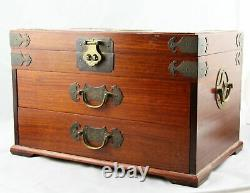 Large Vintage Chinese Japanese Mahogany Brass Mounted Silk Lined Jewelry Box