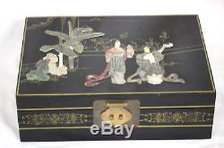 Large Vintage Chinese Laquer Jewelry Box Jade Mother Of Pearl Raised Relief