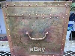 Large Vintage Chinese Storyteller Engraved Brass Trunk Jewelry Chest Box