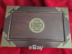 Large Vintage Chinese Wooden Jewelry Chest Box