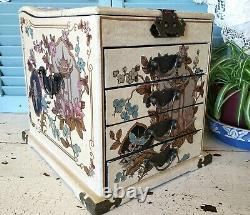Large Vintage Ornate Chinese Laquer Jewelry Makeup Box