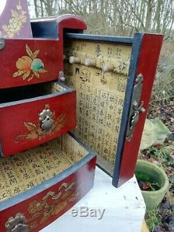 Large Vintage Red Chinese Painted Lacquer Jewellery Box Mirror 3 Drawers 2 Slide