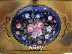 Late 19th c french golden brass & porcelain plates jewelry box chinese st