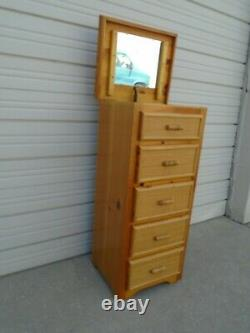 Lingerie Chest of drawers Secret Jewelry box Bamboo Hollywood Regency Rattan
