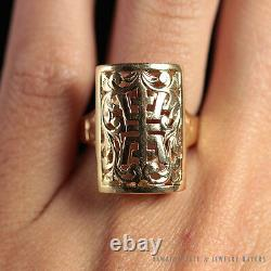 MING'S HAWAII LARGE GOLD RECTANGLE CHINESE 14K YELLOW GOLD RING (SZ 6.5) with box