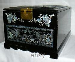 Mother Of Pearl Inlay Chinese Jewelry Box Hinged Mirror 1 Drawer Big Vanity