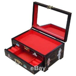 Mother Of Pearl Jewellery Box Wooden Mirror Drawer Lacquered Chinoiserie Chinese