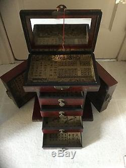 NEW LRG Asian Jewelry Wood Box Brass Hardware Chinese Chest Red Mirror Peacock