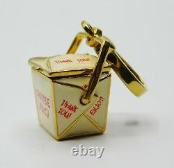 NWT Juicy Couture Chinese Takeout Box Charm with Fortune Cookie GOLD OPENS