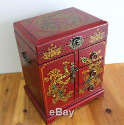 New Large Chinese Painted Lacquer Dragon Phoenix Jewellery Box with Mirror