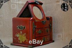 New Large Red Chinese Painted Lacquer Jewellery Box with Mirror