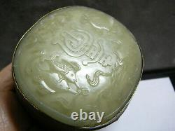 Nice Chinese gilt brass jewelry box with celadon white jade insert cover 19th C