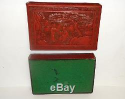 Old 19h Century Chinese Cinnabar Hand Carved Red Lacquer Jewelry Jar Box