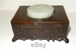Old 19th Century Chinese Tulip Bronze White Jade Medallion Jewelry Box Signed