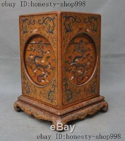 Old China lacquerware Carved Dragon Crane Bird Lucky Jewels Jewelry box boxes A