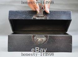 Old Chinese Antique Furniture Ebony Wood carved lucky statue jewelry storage box