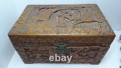 Old Chinese Cantonese Carved Timber Jewellery Box, Cigar Box, Tea Chest Casket