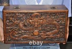 Old Chinese Dynasty Huanghuali Wood Carved Dragon Totem storage box Jewelry Box