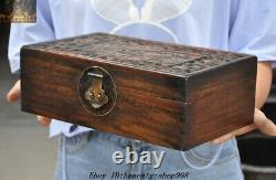 Old Chinese Dynasty Huanghuali Wood Carved Lotus Fish Jewelry Box storage boxes