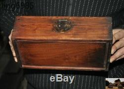 Old Chinese Dynasty Huanghuali Wood Carving Lotus Fish Storage jewelry box boxes
