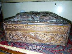 Old Chinese Hand Carved Jewellery Box With Twin Dragon Carving