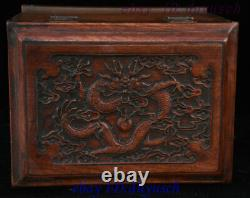 Old Chinese HuangHuaLi Wood Five Dragon Statue Storage Box Jewelry Casket Boxes