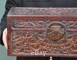 Old Chinese Huanghuali Wood Carved 13 Dragon Beast Statue Jewelry storage boxes