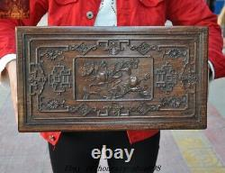 Old Chinese Huanghuali Wood Carved Dragon Totem Peach Jewelry Boxes storage box