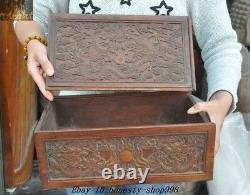 Old Chinese Huanghuali Wood Carved Five dragons Totem storage boxes Jewelry Box