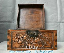 Old Chinese Huanghuali Wood Carving Dynasty Palace Bat pomegranate Jewelry Box