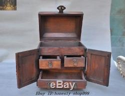 Old Chinese Huanghuali Wood Hand CarvedStorage Cabinet Drawer Jewelry boxes