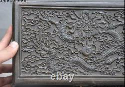 Old Chinese Huanghuali Wood Hand Carved Dragon Loong Beads Jewelry Storage Box