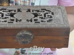 Old Chinese Huanghuali Wood Hand Carved dragons Totem storage boxes Jewelry Box