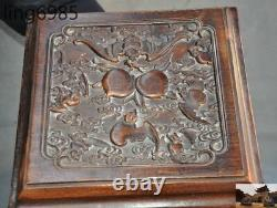Old Chinese Huanghuali Wood Peach Bats jewelry container chest case storage box