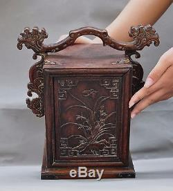 Old Chinese Huanghuali Wood hand carved butterfly grass statue jewelry Box boxs