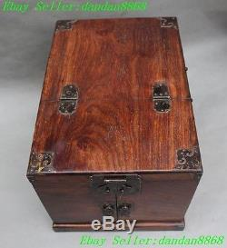 Old Chinese Huanghuali wood Hand carved drawers Jewelry boxes cabinet statue