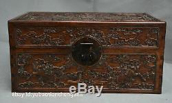 Old Chinese Huanghuali wood carved Kylin Qilin Pattern Chest Jewelry Box casket
