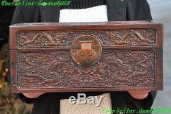 Old Chinese Huanghuali wood hand carved dragon beast statue jewelry box cabinet