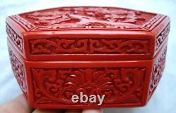 Old Chinese Red Faux Carved Cinnabar Lidded Jewelry Box China Porcelain Ceramic