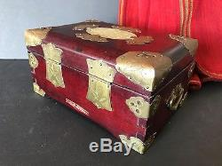 Old Chinese Rosewood Jewelry Box with Brass Fittings Lock & Corners