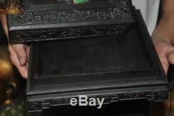 Old Chinese Rosewood Wood inlay Shell Turquoise Dragon Jewelry boxes storage box
