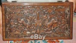 Old Chinese dynasty Huanghuali Wood Kylin Qilin Beast Storage Jewelry Box Boxes