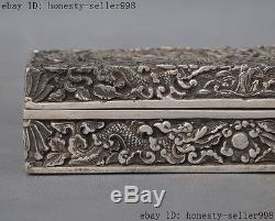 Old Chinese dynasty Silver Dragon play beads statue box Jewel Jewelry Box boxes