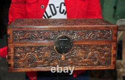 Old Chinese dynasty huanghuali wood Hand carved Dragon jewelry Storage box boxes