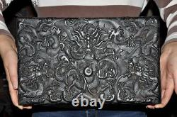 Old Chinese dynasty palace black Rosewood wood Carved Dragon Jewelry Storage box