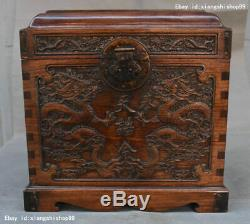 Old Chinese huanghuali wood Hand carved Dragon pattern Storage jewelry box boxes