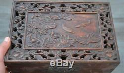Old Chinese huanghuali wood carving fish lotus storage box jewelry boxs